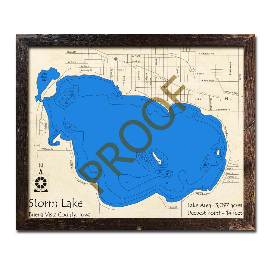 Storm Lake Iowa 3d Wood Map Laser Etched Wood Charts