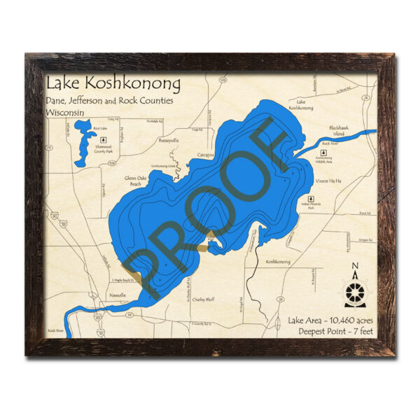 Koshkonong 3d Wood Map