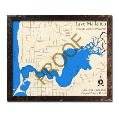 Lake Mallalieu 3d wood map