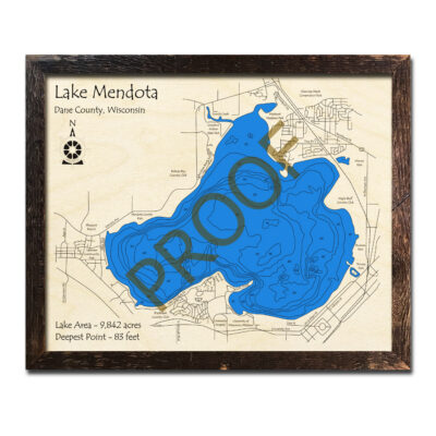 Lake Mendota 3d wood map
