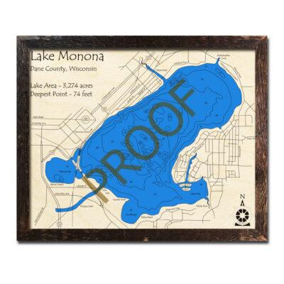 Lake Monona 3d wood map