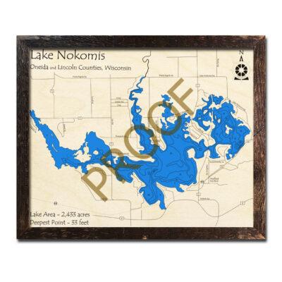 Lake Nokomis 3d wood map