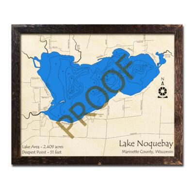 Lake Noquebay 3d wood map