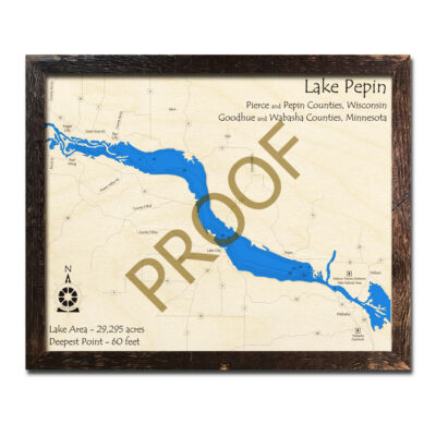 Lake Pepin 3d wood map