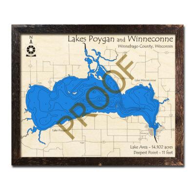 Lake Poygan 3d Wood Map