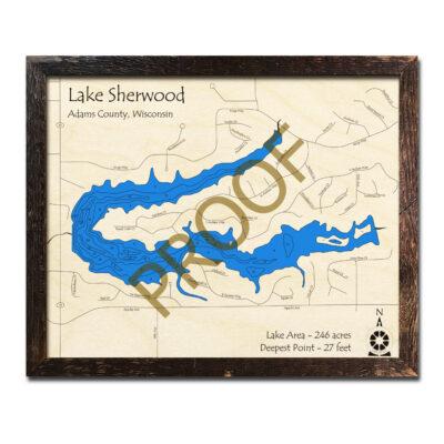 Lake Sherwood WI 3d wood map