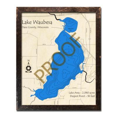 Lake Waubesa 3d wood map