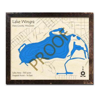 Lake Wingra 3d wood map