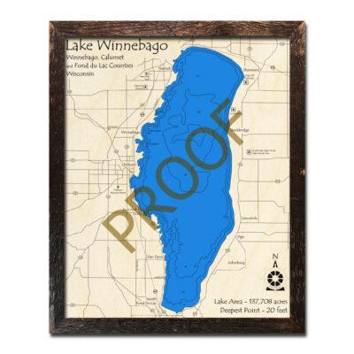 Lake Winnebago 3d wood map