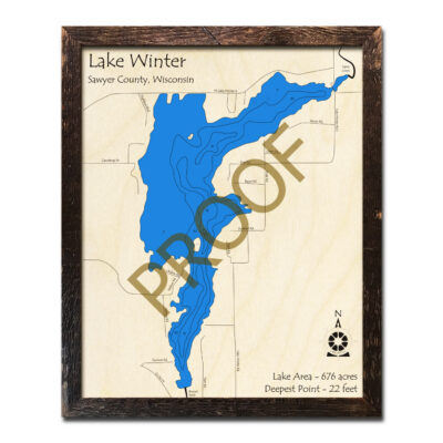 Lake Winter 3d wood map