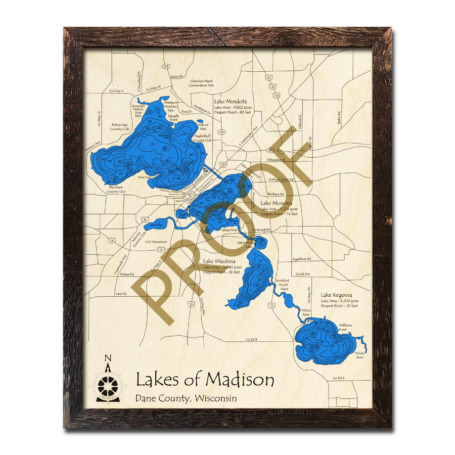madison chain of lakes map Madison Chain Of Lakes Wi Wood Map 3d Nautical Wood Charts madison chain of lakes map