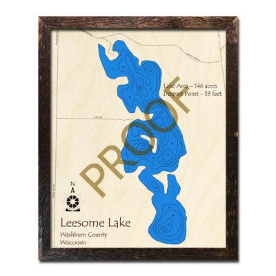 Leesome Lake 3d wood map