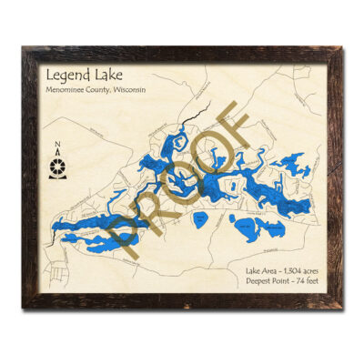 Legend Lake 3d wood map for sale