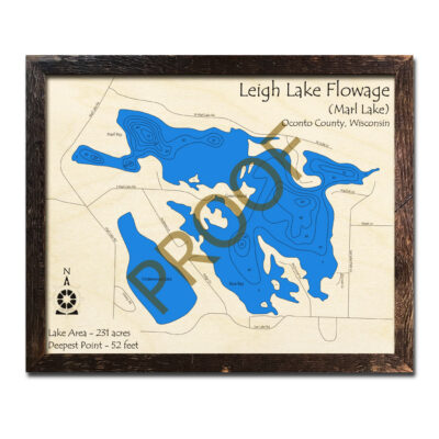 Leigh Lake Flowage 3d wood map