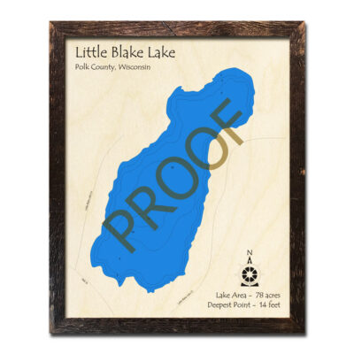 Little Blake Lake 3d wood map