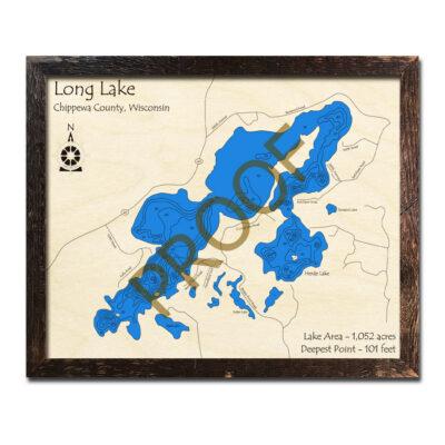Long Lake WI 3d Wood Map