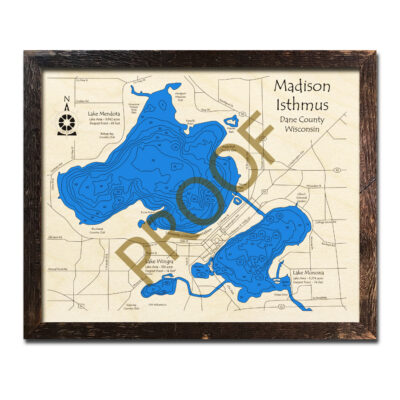Madison Isthmus 3d wood map