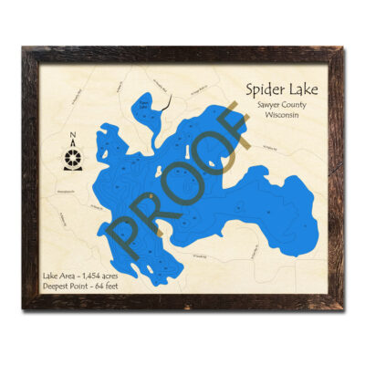 Spider Lake WI 3d wood map