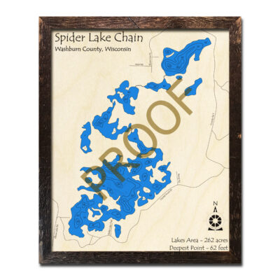 Spider Lake Chain Wisconsin 3d wood map