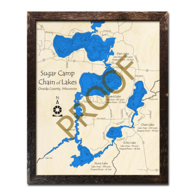 Sugar Camp Chain of Lakes 3d Wood Map