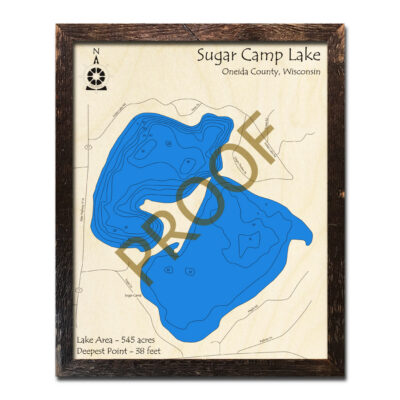 Sugar Camp Lake WI 3d wood map