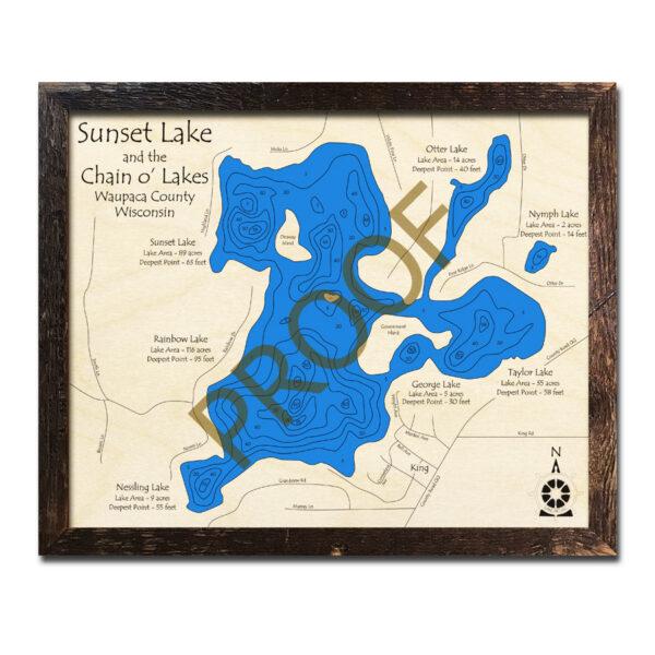 Sunset Lake 3d wood map