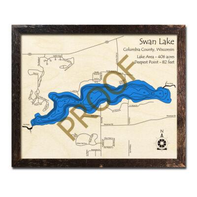 Swan Lake WI 3d wood map