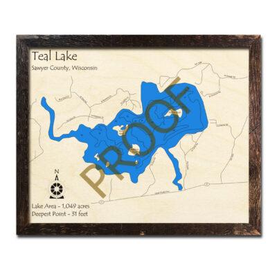 Teal Lake 3d wood map