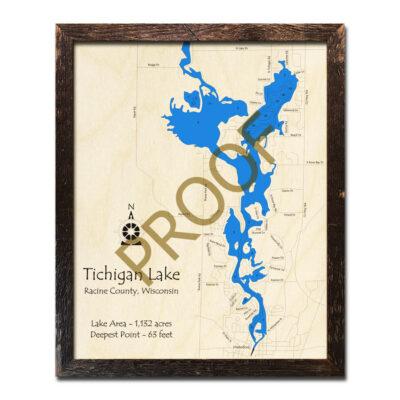 Tichigan Lake 3d wood map