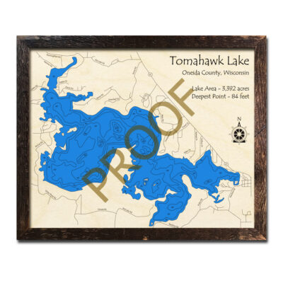 Tomahawk Lake 3d wood map wisconsin