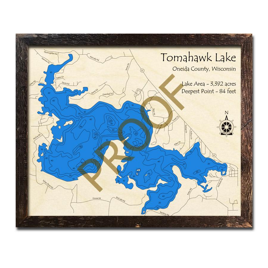 Tomahawk Wisconsin Map.Tomahawk Lake Wi Wood Map 3d Nautical Wood Charts