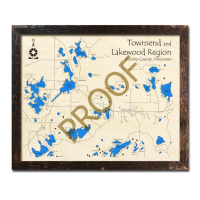 Townsend and Lakewood Region 3d wood map