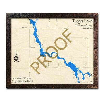 Trego Lake 3d wood map