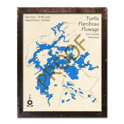 Turtle Flambeau Flowage 3d wood map