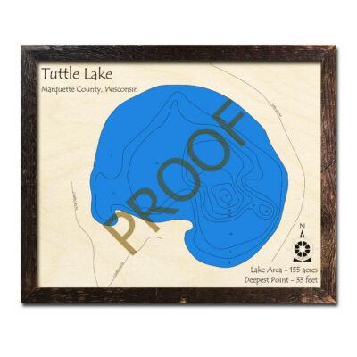Tuttle Lake 3d wood map