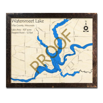Watersmeet Lake 3d wood map