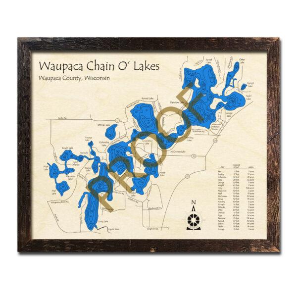 Waupaca Chain O' Lakes 3d wood map