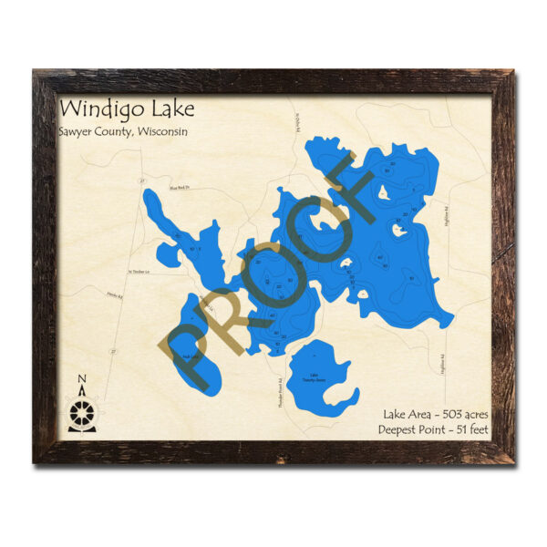 Windigo Lake 3d wood map