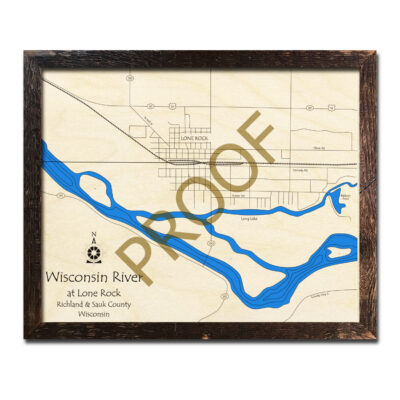 Wisconsin River Lone Rock 3D wood map
