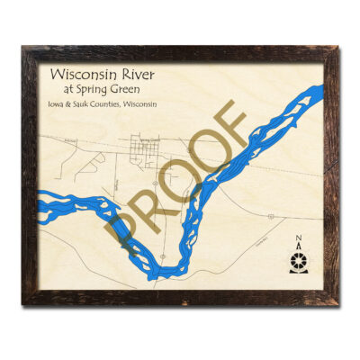 Wisconsin River Spring Green Region 3d wood map