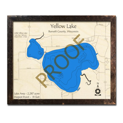 Yellow Lake Wisconsin 3d wood map