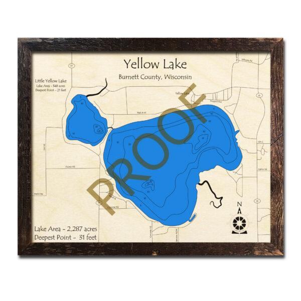 Yellow Lake Wisconsin 3d wood map