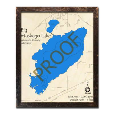 Muskego Lake 3d Wood Map