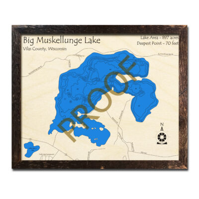Muskellunge Lake 3d wood map