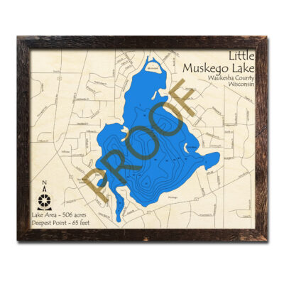 Little Muskego Lake 3d wood map