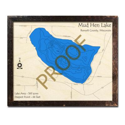 Mud Hen Lake 3d wood map