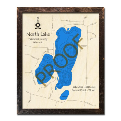 North Lake 3d wood map wisconsin
