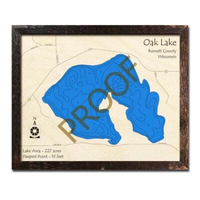 Oak Lake Wisconsin 3d wood map