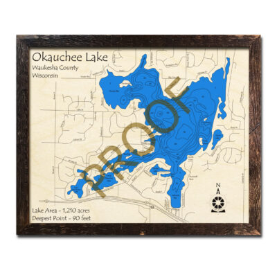 Okauchee Lake 3d wood map