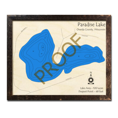 Paradise Lake WI 3d wood map